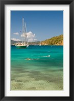 Framed Snorkelers in idyllic cove, Norman Island, BVI