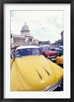 Framed Classic 1950's Auto at Havana Capitol, Havana, Cuba