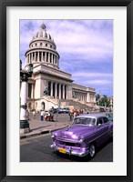 Framed Classic 1950's purple Auto, Havana, Cuba