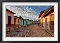 Framed Early morning view of streets in Trinidad, Cuba