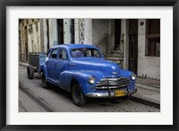 Framed 1950's era blue car, Havana Cuba