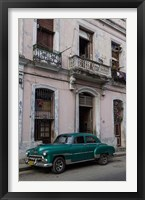 Framed 1950's era green car, Havana Cuba
