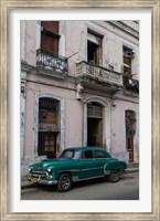 Framed 1950's era green car, Havana Cuba