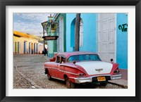 Framed Colorful buildings and 1958 Chevrolet Biscayne, Trinidad, Cuba