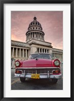 Framed 1950's era pink car,  Havana Cuba