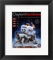 Framed Clayton Kershaw 2014 National League MVP & Cy Young Award Winner Portrait Plus