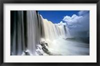 Framed Towering Igwacu Falls Drops into Igwacu River, Brazil