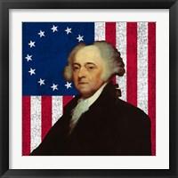 Framed John Adams Against the American Flag