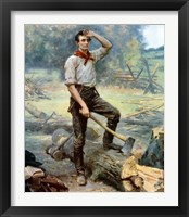 Framed Digitally restored Vector Painting of a Young Abraham Lincoln Chopping Wood