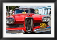 Framed Classic 1950s Edsel parked on downtown street, Cardenas, Cuba