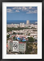 Framed Cuba, Havana, Building with Camilo Cienfuegos
