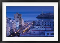 Framed Cuba, Havana, City view above Paseo de Marti, Dawn