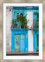 Framed Cuba, Havana, Havana Vieja, Blue building