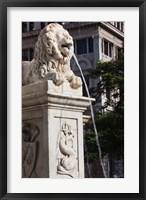 Framed Cuba, Havana, Plaza de San Francisco de Asis Lion fountain