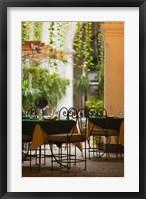 Framed Cuba, Havana, Havana Vieja, restaurant tables