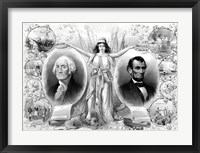 Framed President Washingtons and Lincoln