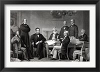Framed President Lincoln reading the Emancipation Proclamation to his Cabinet