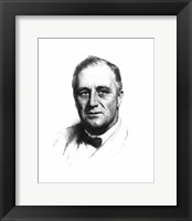 Framed Vector Sketch of Franklin Delano Roosevelt