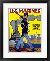 Framed U.S. Marines - Service on Land and Sea