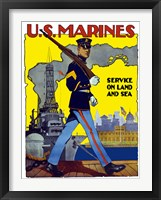 Framed U.S. Marines - Service on Land and Sea