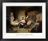 Framed President Lincoln Writing the Emancipation Proclamation