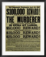 Framed Reward Poster - Murderer of Abraham Lincoln