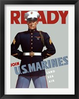 Framed Marine Corps Recruiting Poster from World War II