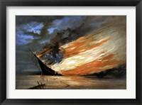 Framed Vintage Civil War painting Warship Burning