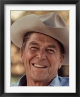 Framed Ronald Reagan in Cowboy Hat