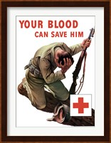 Framed Vintage Red Cross - Your Blood Can Save Him