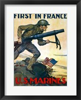 Framed First in France - U.S. Marines