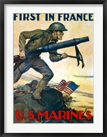 Framed First in France - U.S. Marines