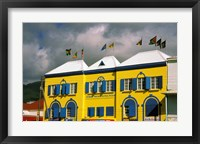 Framed Bright Colorful Building, St Kitts, Caribbean