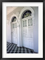 Framed Historic District Doors with Stucco Decor and Tiled Floor, Puerto Rico