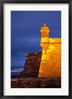 Framed El Morro Fort lit up, Old San Juan, Puerto Rico