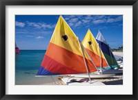 Framed Sailboats on the Beach at Princess Cays, Bahamas