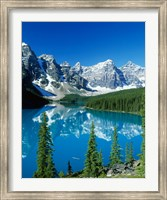 Framed Wenkchemna Peaks and Moraine Lake, Banff NP, Alberta, Canada