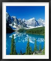 Framed Wenkchemna Peaks and Moraine Lake, Banff NP, Alberta, Canada