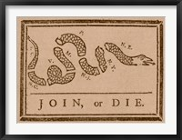 Framed Join or Die Created by Benjamin Franklin