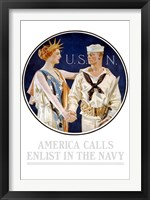 Framed Vintage World War II - Liberty Shaking Hands with a Sailor