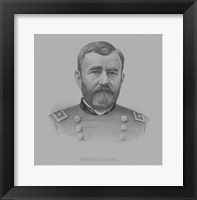 Framed General Ulysses S. Grant (drawn portrait)