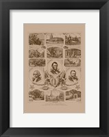 Framed Presidents Grant, Lincoln and Washinton