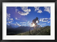 Framed Mountain Biker at Sunset, Canmore, Alberta, Canada