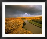 Framed Approaching storm on the Milk River at Writing on Stone Provincial Park, Alberta, Canada