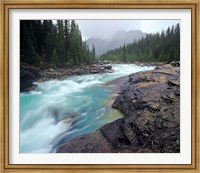 Framed Mistaya River in Banff National Park in Alberta, Canada