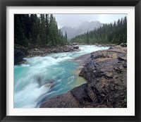 Framed Mistaya River in Banff National Park in Alberta, Canada