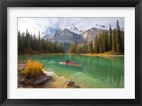 Framed Kayaker on Maligne Lake, Jasper National Park, Alberta, Canada