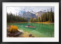 Framed Kayaker on Maligne Lake, Jasper National Park, Alberta, Canada