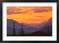 Framed Alberta, Baniff NP, Sunset on Mountain ridges