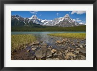 Framed Alberta, Rocky Mountains, Banff NP, lake fed by snowmelt